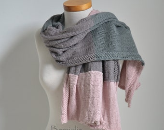 Knitted shawl, pink, mauve and grey, M233