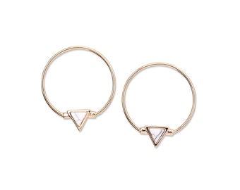 TRIANGLE STONE CHARM hoop earrings