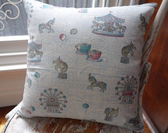 Vintage Style Linen look Japanese Carousel Circus cushion cover/pillow  backed with Nested Owls grid dot in aqua 45cm square