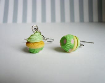 Pistachio whipped frosting cupcake earrings