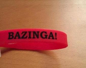 BAZINGA Silicone Wristband Red Comic Book Big Bang Inspired Geek Nerd Love