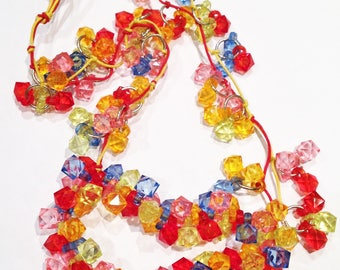 Necklace - colourful plastic bead necklace great multi colour costume jewellery