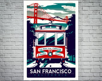 San Francisco cable car Retro screen printed poster