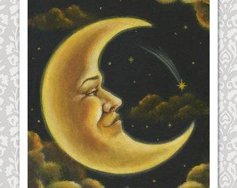 Crescent Moon Print, Moon Man Portrait, Man on the Moon, Celestial Art, Lunar, Astrology, Moon and Stars, Moonlight Astronomy, Harvest Moon