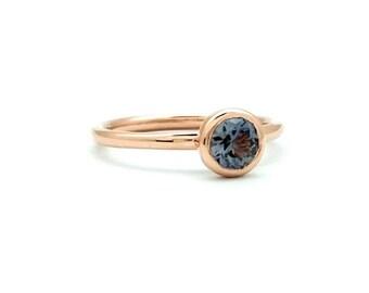 4mm Round Diamond-Cut Sapphire Bezel Set Ring - 14K ROSE GOLD