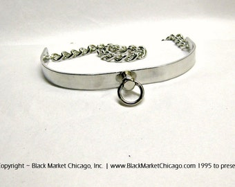 BDSM Collar Metal Mini O-Ring Choker for Submissive Slave with Stainless Steel Chain and Padlock or Lobster Clasp Closure
