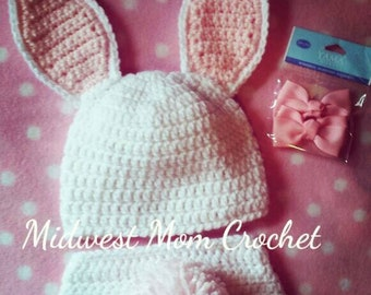Crochet Bunny Hat and Diaper Cover Photo Prop 0-6 months