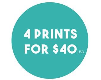 Any 4 8x10 Prints from Jaimie Art Co. - Bulk Art Prints, Bulk Art Set, Assorted Art, Art in Bulk, Art Print Set, Mix and Match, Wall Art Set