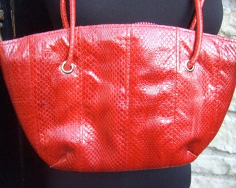 Vintage 1980s Snakeskin Shoulder Bag