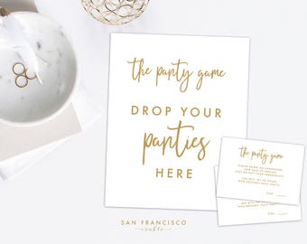 Panty Game Insert and Sign - Bridal Shower Game, Bachelorette Party Game, Gold - Samantha Collection - Instant Download PDF Files