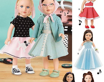 """18"""" AG Doll Clothes Pattern, Simplicity 8072- 1950s  Dresses fits american Girl Dolls"""