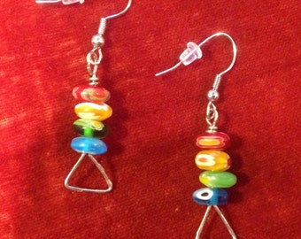 Rainbow glass beaded wire wrapped dangle earrings