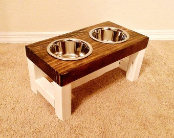 Dog Bowl Feeder - Small Dog Feeder - Farmhouse Style - Rustic Dog Bowl Stand - Raised Dog Bowl Feeder - Elevated Dog Feeder - Small Dog Bowl