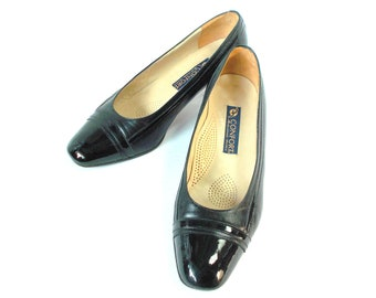 Elegant Italian Block heel all leather vintage shoes 90s Quality MODA COMODA shoes Womens patent leather pumps black court shoes size 40