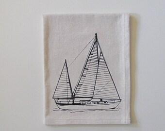 Cotton Kitchen Towel - Sailboat - Choose your ink color