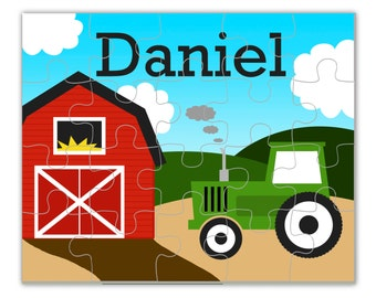 Farm Tractor Puzzle - Green Tractor Puzzle, Red Barn Farm Personalized Puzzle, You Pick Tractor Color - Kids Personalized Gift under 20