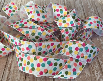 Confetti Polka Dot USDR Grosgrain Ribbon, 7/8 inch Ribbon by the yard, Hair Bow Supplies, Sewing Ribbon