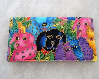 Checkbook Cover - Laurel Burch DOG canine