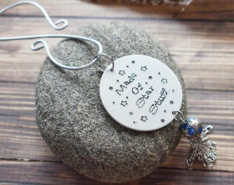 Made of Star Stuff Ornament Hanger- Celestial Space Humanist Astronomy Gift - Atheist Humanist Hanging Tag Window Charm