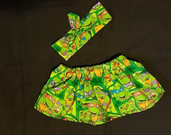Teenage Mutant Ninja Turtle skirt and headband - birthday outfit - TMNT - turtles - novelty - skirt - knotted headband - baby - toddler