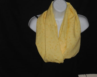 Yellow with Wheat Print Infinity Scarf