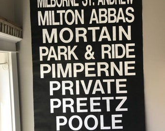 Vintage English Bus Roll Sign