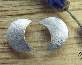 Earrings Silver 925 /-, large Crescent