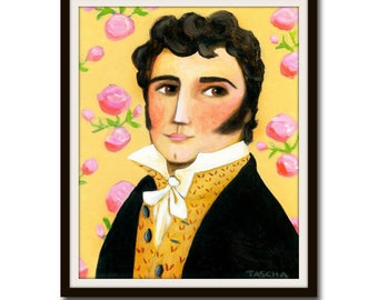 PRINT Mr. Darcy from Jane Austen Pride and Prejudice portrait of Mr. Darcy poster print of painting by Tascha