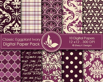 Classic Eggplant and Ivory Paper Pack - 10 Printable Digital Scrapbooking papers - 12 x12 - 300 DPI