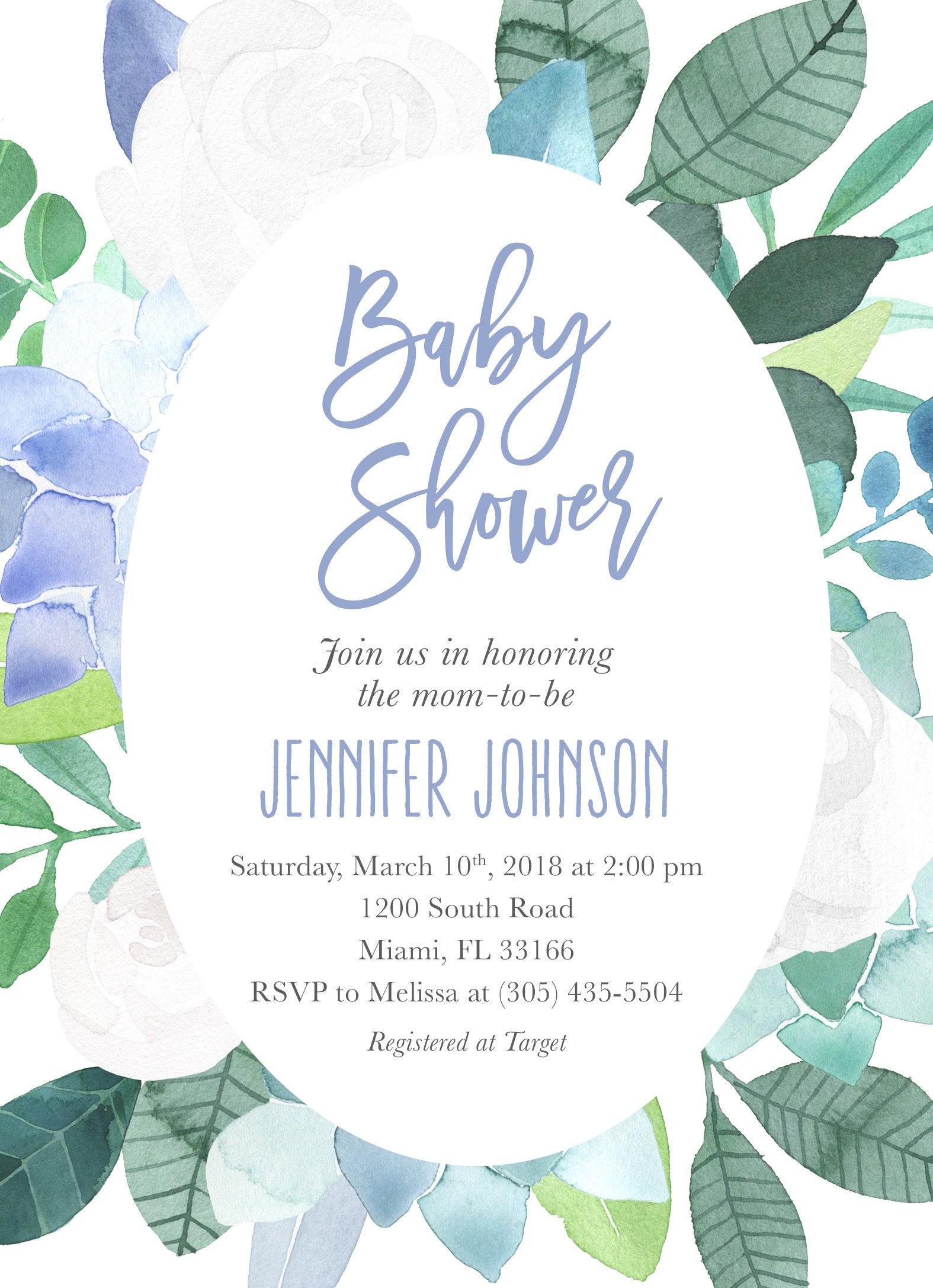 Blue Baby Shower Invitation, Baby Shower Invitation Boy, Succulent ...