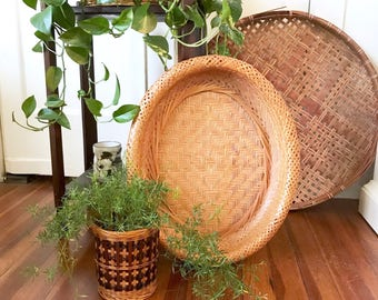 Vintage woven large oval wall Basket