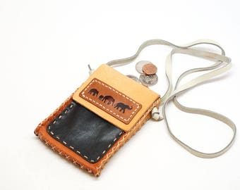 Leather phone neck bag, Leather neck pouch, Medicine bag, Leather necklace bag, leather phone pouch, phone purse,travel bag mini wallet