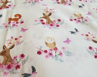 Rustic Deer & Owl Fabric | Girl Nursery Fabric | Bird Floral | Cotton Fabric