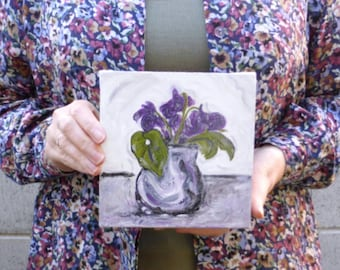 Small painting of violets in a vase, spring flowers, February birthday gift for her, original art on canvas, purple art, free shipping