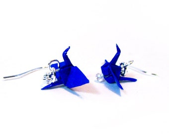 "Origami Paper Crane earrings 3/4""   - Dark Blue Paper Crane Earrings Solid Color"