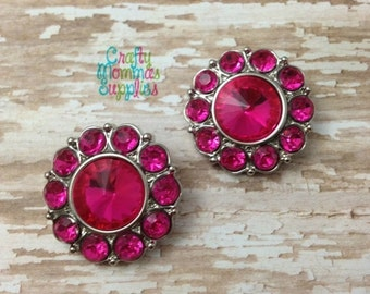 "ON SALE Set of 2 Hot Pink Rhinestone Buttons, Acrylic Buttons, 25mm (1""), Baby Headbands, Newborn Headband, DIY Wedding, Craft Projects  25-"