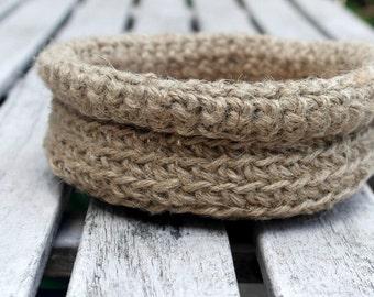 Crocheted Bowl Table Decor, Jute Crochet Storage Basket, Trinket Holder Primitive Natural Jute Decor