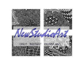 ACEO  Set of 4 Original Black & White Printable Zentangles -white on black in the format of 2.5 x 3.5 inches-Print -Instant Digital Download