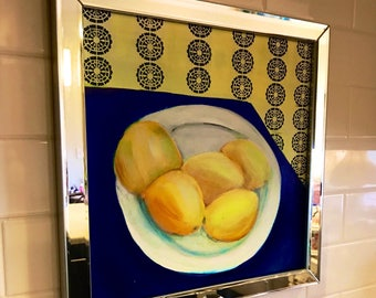 Lemons on a Plate Still Life Painting