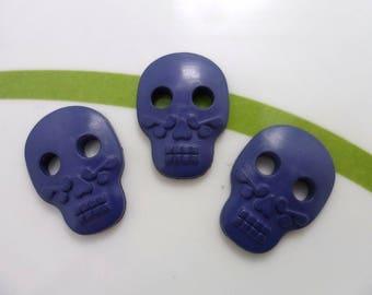 Set of 4 buttons skull skull 16 * 22mm blue