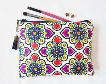 Mum gifts, sewing Pouch, folk style, boho style, travel wallet, makeup organiser.
