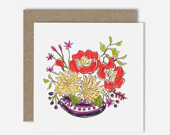 Peonies and Dahlias / Floral Illustration Greeting Card