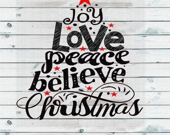 Christmas Tree, Joy Love Peace, Christmas Svg,Dxf,Png,Jpeg