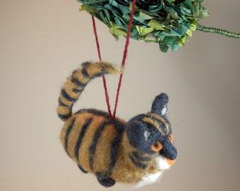 Felted cat ornament/cat car mirror charm/needle felted orange blue cat/cat hanging ornament/felted striped kitty hanging ornament/cat decor
