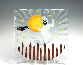 Halloween, Ghost Serving Dish, Ghosts, Bats, Fused Glass Plate, Halloween Decor