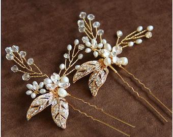 Wedding hair piece Bridal pins Wedding hair accessories Bridesmaids pins Bridesmaids hair pins Flower pins Rhinestone pins veil