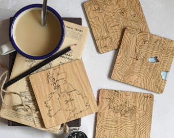 The National Three Peaks Map Coasters: laser etched maps on oak, a gift for walkers, hikers, dads & groomsmen