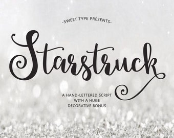 Starstruck Hand-lettered font download - Calligraphy script - commercial or personal