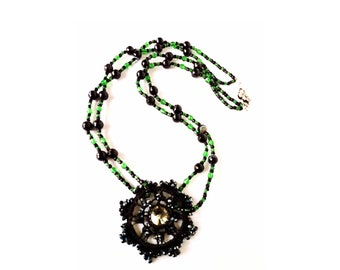 Crochet pendant necklace, statement crystal necklace, onyx necklace woman, long double necklace, black and green jewelry, flower pendant