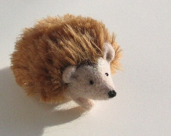Sofie - Felt Hedgehog Art Handmade Stuffed Animal Felted Toy Beige Light Brown Black MADE TO ORDER